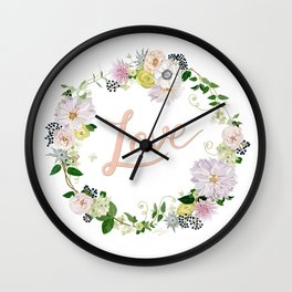 Love Pink Flower Wreath Wall Clock