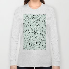 'Speckle Party' Mint Green Black White Dots Speckle Trendy Sporty Pattern Long Sleeve T-shirt