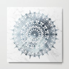 Love Mandala Denim Metal Print