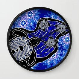 Baby Sea Turtles - Aboriginal Art Wall Clock