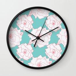 Tuquoise Tea Rose Wall Clock