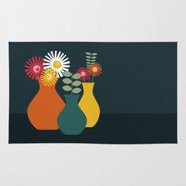 Flower Vases on Dark Background Rug