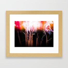 incense sticks crazy smoke Framed Art Print