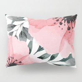 Big Watercolor Flowers Pillow Sham