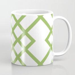 Green Tracery Geometric Pattern Coffee Mug