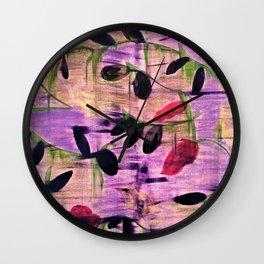 Purple Garden. Purple, Vines, Garden, Flowers, Green, Abstract, Jodilynpaintings Wall Clock