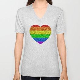 LGBT flag vibrant rainbow glitter sparkles Unisex V-Neck