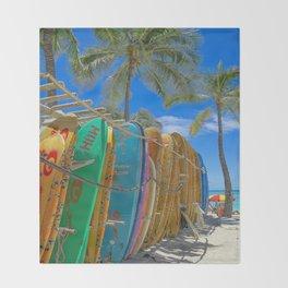 Hawaiian surfboards Throw Blanket