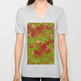 Abstract watercolor burgundy red green fig leaves foliage Unisex V-Neck