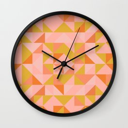Deconstructed Triangle Pattern in Coral and Peach Wall Clock