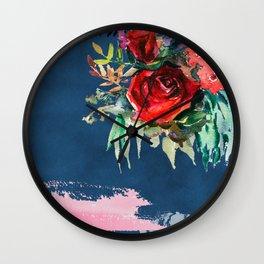 Midnight Roses Wall Clock
