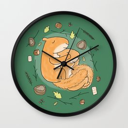 Cute squirrels couple hugging sleeping in autumn winter Wall Clock
