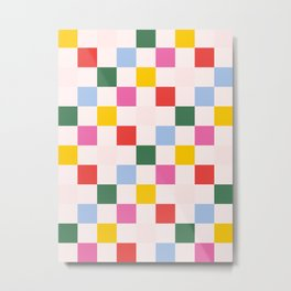 Retro Bauhaus Pattern | Abstract Shapes | Geometric Checks Metal Print