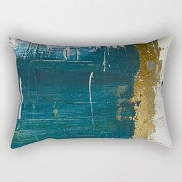 Rain [3]: a minimal, abstract mixed-media piece in blues, white, and gold by Alyssa Hamilton Art Rectangular Pillow