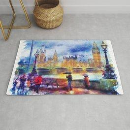 London Rain watercolor Rug