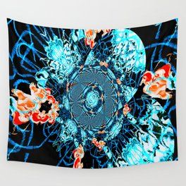 HypnoSpace- Tangent Blue & Orange Wall Tapestry