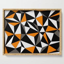 Geo - orange, gray, black and white. Serving Tray
