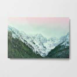 Snowy Winter Mountain Landscape with Alpenglow Metal Print