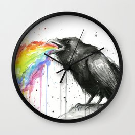 Raven Tastes the Rainbow Wall Clock