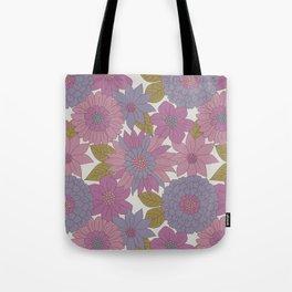 Pink & Purple Retro Floral Pattern Tote Bag