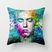 rap Throw Pillows featuring Rap God by Raditya Giga