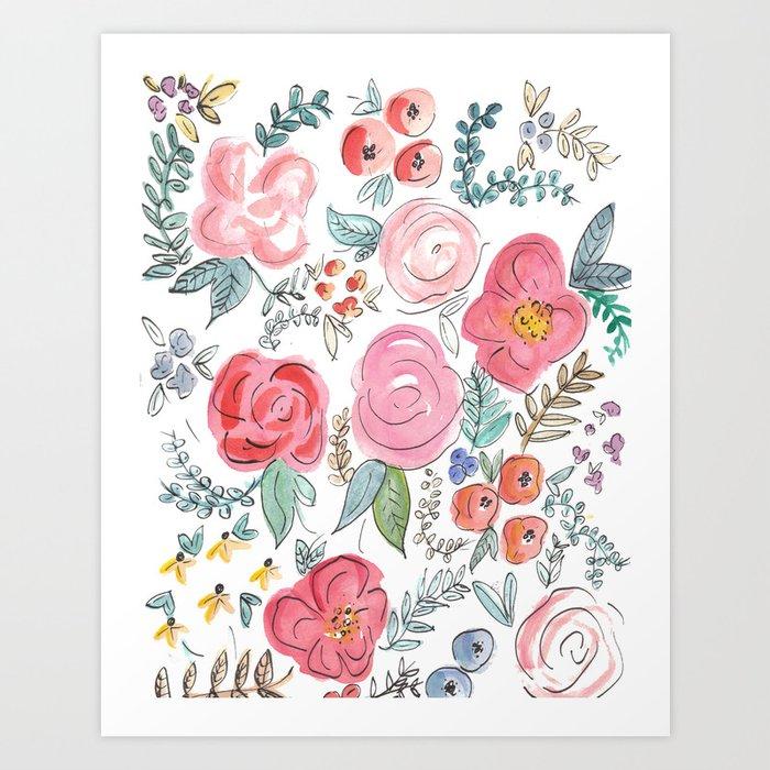 watercolor floral print art print by jennakutcher society6