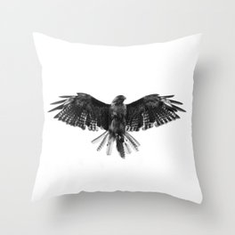 Black Bird White Sky Throw Pillow
