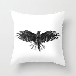 Black Bird White Sky Throw Pillow
