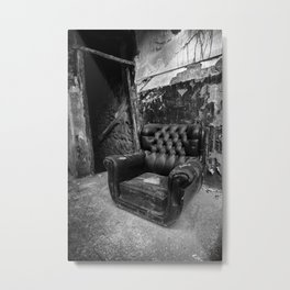 Old abandoned leather armchair Metal Print