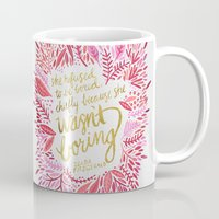 fitzgerald Mugs featuring Zelda Fitzgerald – Pink on White by Cat Coquillette