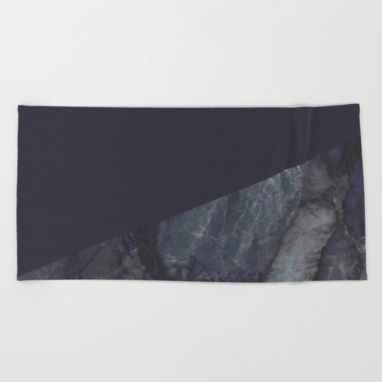 Marble Geometric Navy Blue Indigo Beach Towel