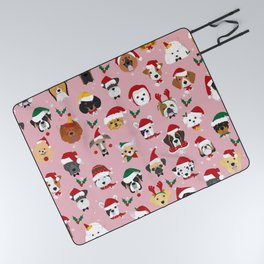 Christmas Dog Pattern Illustration Picnic Blanket