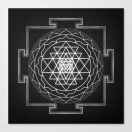 Sri Yantra XI - Black & White Canvas Print