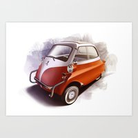 bmw Art Prints featuring BMW Isetta by Sven Sellik