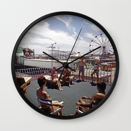 Kings Inn Hotel Sundeck on the Wildwood Boardwalk and Amusement Pier. 1960's retro photograph. Wall Clock