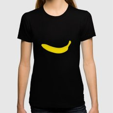Banana print Womens Fitted Tee Black X-LARGE
