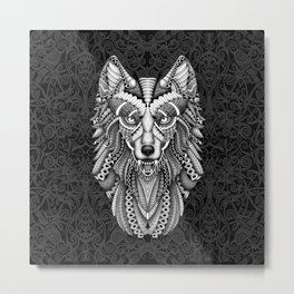 Beautiful Grey wolf aztec pattern Metal Print