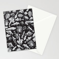 Aquatic I: White on Black Stationery Cards