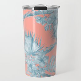 Dreaming of Hawaii Pale Teal Blue on Coral Pink Travel Mug