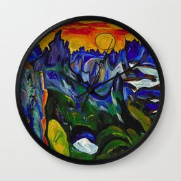 African American Masterpiece 'Midnight Sun, Norway' by William Henry Johnson Wall Clock
