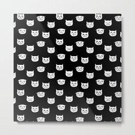 Cat heads drawing on black Metal Print