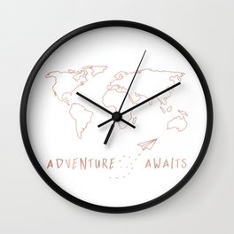 Adventure Map in Rose Gold Wall Clock
