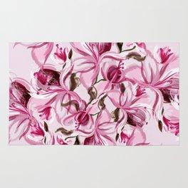 Beautiful pink magnolia flowers in watercolor style Rug
