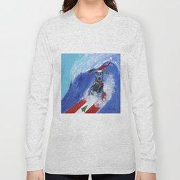 Christmas Surfing Weimaraner Long Sleeve T-shirt