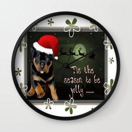 Tis The Season To Be Jolly Cute Rottweiler Christmas Wall Clock