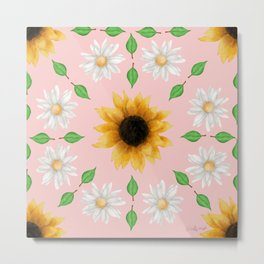 Flower Mandala - Rose Quartz Metal Print