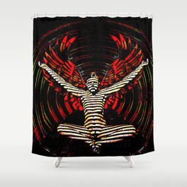 0395s-PDJ Sensual Angel with Red Wings Woman Empowered as Succubus Shower Curtain