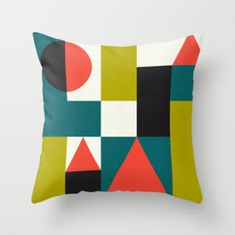 Mid-century block pattern Throw Pillow
