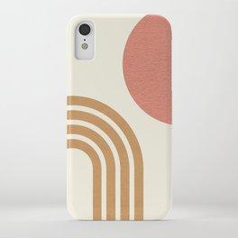 Mid century modern pink Sun & Rainbow iPhone Case