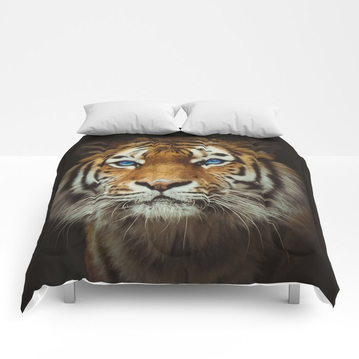 Wild Tiger with Blue eyes Comforters